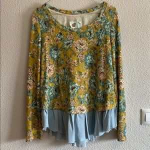 Anthropologie Lilka flora long sleeves with denim